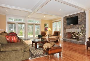 Contemporary Living Room with French doors, Leick Furniture Solid Wood Glass Top Round Coffee Table, stone fireplace