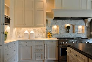 Traditional Kitchen with Custom hood, Stone Tile, Hexagonal Cut Crystal Knob, Jesco 3-light Halogen Puck Light Kit, L-shaped