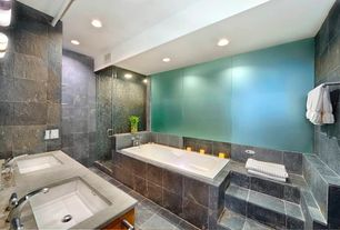 Contemporary Master Bathroom with Stained glass window, Limestone counters, frameless showerdoor, Master bathroom