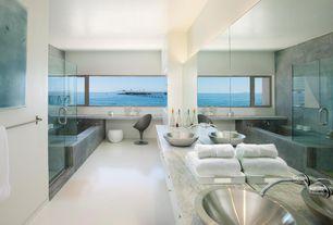 Contemporary Master Bathroom with frameless showerdoor, Master bathroom, Vessel sink, European Cabinets, Double sink, Flush