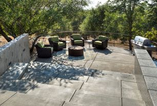 Contemporary Patio with Outdoor kitchen, Pathway, exterior concrete tile floors, Deck Railing, exterior tile floors