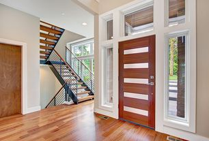 Contemporary Entryway with picture window, Transom window, Standard height, flat door, Hardwood floors, Paint 2, Paint 1