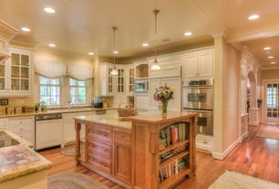 Cottage Kitchen with Inset cabinets, Kempas - Kempas Natural 3 1/2 in. Solid Hardwood Plank, Simple Granite, Kitchen island