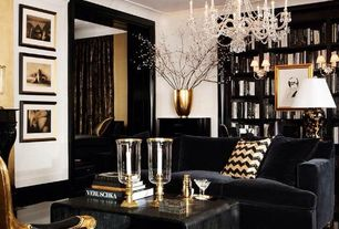 Eclectic Living Room with Crown molding, Z gallerie omni chandelier, Hollywood regency style, Metal vase, Chandelier