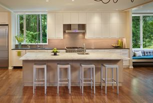 Contemporary Kitchen with One-wall, Flush, Kitchen island, Oregon Tile & Marble Calacatta Marble, Complex marble counters