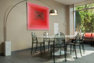 Modern Dining Room with Hardwood floors, Window seat
