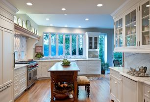 Traditional Kitchen with Farmhouse sink, L-shaped, Flat panel cabinets, Complex marble counters, Casement, Standard height