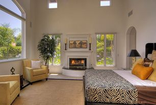 Modern Guest Bedroom with Skylight, Arched window, French doors, Carpet