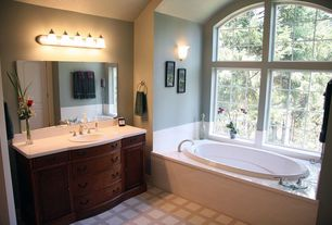 Eclectic Full Bathroom with Soapstone counters, 5-Light Brushed Nickel Vanity with Frosted White Glass, Flush, Carpet