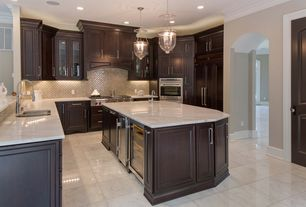 Traditional Kitchen with Pental white carrara polished marble, Simple marble counters, Daltile DUNE EG08, Crown molding