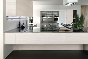 Contemporary Kitchen with Flush, European Cabinets, double wall oven, Kitchen island, built-in microwave, Corian counters