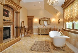 Traditional Master Bathroom with Signature Hardware Arabella Cast Iron Double-Slipper Tub, Master bathroom, Chair rail, Flush