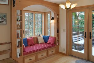 Country Kitchen with wood work walls, Window seat, Built-in window seat, Hardwood floors, Bay window