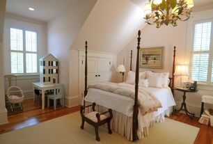 Traditional Kids Bedroom with Green leaf candle light chandelier, Built-in bookshelf, Queen cottage chic four poster bed