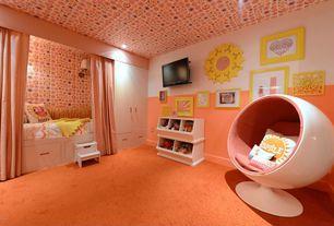 Contemporary Kids Bedroom with Built-in bookshelf, White 2-Bin and 3-Bin Storagepalooza, interior wallpaper, Wall sconce