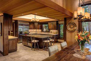 Rustic Kitchen with Limestone counters, U-shaped, Raised panel, Kitchen island, Simple granite counters, Complex Granite