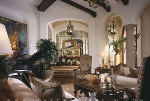 Mediterranean Living Room with High ceiling, Chandelier, Exposed beam, Sunken living room, Columns, Hardwood floors