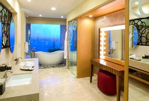 Eclectic Master Bathroom with Double sink, Master bathroom, Stone Tile, Limestone counters, Limestone Tile, Freestanding