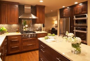 Contemporary Kitchen with Wall Hood, Ceramic Tile, Flush, Travertine counters, can lights, dishwasher, Standard height, Paint