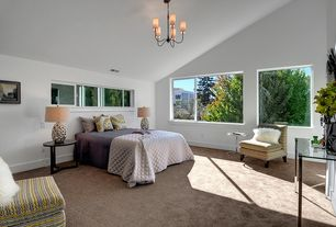 Contemporary Master Bedroom with High ceiling, Carpet, picture window, Chandelier, Casement