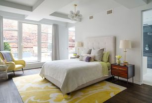 Contemporary Master Bedroom with Glass panel door, Lorraine upholstered tufted tall bed & headboard, Hardwood floors