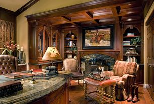 Country Home Office with Box ceiling, Arizona Tile, APHRODITE. Granite, Audrey Stool, Built-in bookshelf, Hardwood floors