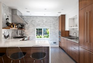 Contemporary Kitchen with Standard height, Subway Tile, Arizona tile- eramosa ice, U-shaped, built-in microwave, can lights