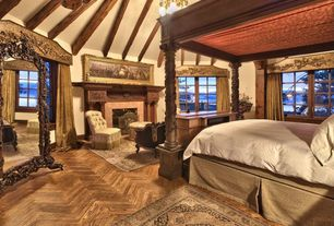 Traditional Master Bedroom with Exposed beam, Hardwood floors, Acacia Natural Herringbone, Chandelier, High ceiling