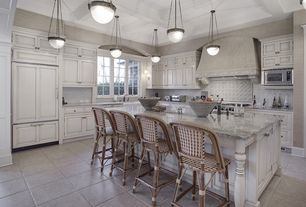 Traditional Kitchen with electric cooktop, Large Ceramic Tile, L-shaped, Pendant light, built-in microwave, full backsplash