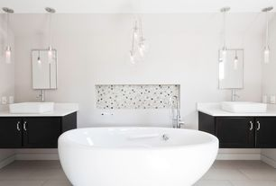 Contemporary Master Bathroom with High ceiling, Inset cabinets, Corian counters, Commo PD-1 Pendant Light, Master bathroom