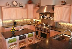 Traditional Kitchen with Large Ceramic Tile, Built-in bookshelf, Flat panel cabinets, Simple granite counters, Kitchen island