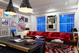 Contemporary Living Room with flush light, Carpet, High ceiling, Exposed beam