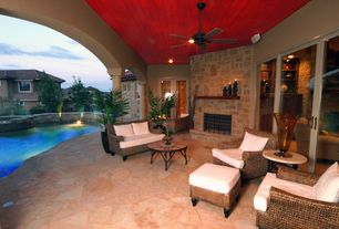 Tropical Patio with exterior stone floors, Pathway