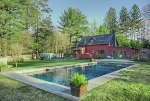 Country Swimming Pool with Outdoor kitchen, Glass panel door, French doors, picture window, Fence, Pool with hot tub