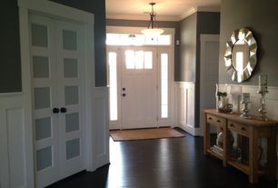 Craftsman Entryway with Standard height, Uttermost fortune mirror, Butler masterpiece console table - finish - cinammon