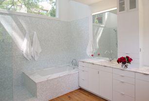 Traditional Full Bathroom with Hardwood floors, Double sink, Undermount sink, Flush, European Cabinets, Handheld showerhead