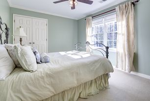 "Traditional Guest Bedroom with Chandelier, 60"" Casa Equinox Teak/Bronze Ceiling Fan with Light Kit, Crown molding, Carpet"