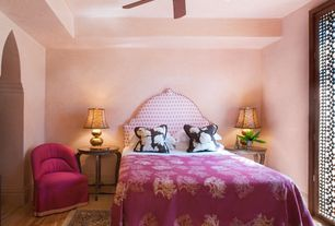 Eclectic Guest Bedroom with Paint 1, Ceiling fan, Cost plus world market - fuchsia nina chair, French doors, Standard height