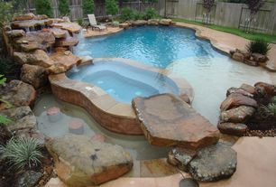 Rustic Swimming Pool with Pool with hot tub, Natural rock pool accent, Water feature