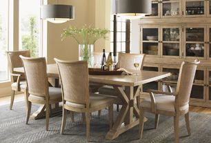 Contemporary Dining Room with Hardwood floors, Hubbardton Forge Exos Double Shade 3 Light Drum Pendant, High ceiling