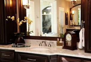Traditional Master Bathroom with Flat panel cabinets, Simple marble counters, Undermount sink, Framed Partial Panel