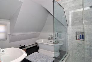 Traditional Master Bathroom with slate floors, MS International Montauk Black Slate, Wood paneling, Undermount bathroom sink