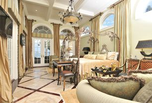 Traditional Master Bedroom with High ceiling, Exposed beam, flush light, French doors, Chandelier, complex marble tile floors