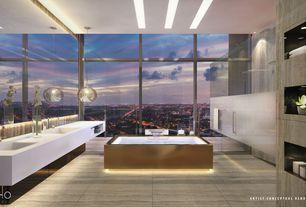 Modern Master Bathroom with Double sink, flush light, Rain shower, Corian counters, Sweet Cherry Pendant Chrome