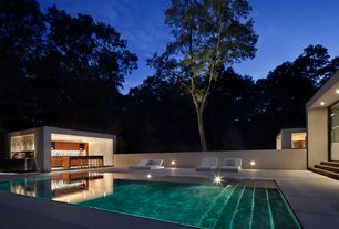 Modern Swimming Pool with Outdoor kitchen, Fence, exterior tile floors