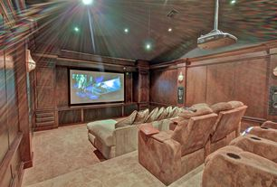 Home Theater with Built-in bookshelf, Crown molding, Wall sconce, Carpet, High ceiling