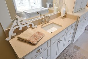 Cottage Master Bathroom with Flat panel cabinets, Undermount sink, Stainless steel cup pull, Quartz counters, Towel warmer