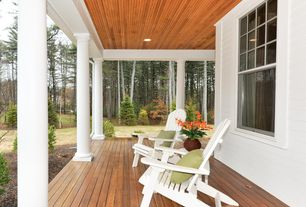 Traditional Porch with Pathway, Wrap around porch, Corinthian column, White exterior columns, Recessed lightining