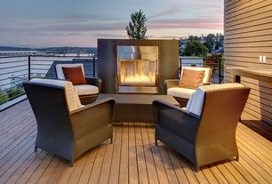 Contemporary Deck with Pathway, Elanamar designs sonoma chair with cushions, Outdoor fireplace, Outdoor seating