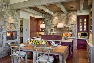 Contemporary Dining Room with Exposed beam, Williams sonoma home la bergerie wine tasting table, Pendant light, Columns
